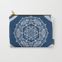 Mandala art design white navy blue pattern Carry-All Pouch