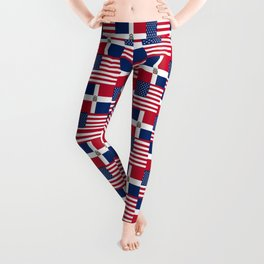 Mix of flag : usa and dominican republic Leggings