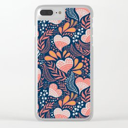 Floral Hearts Day Clear iPhone Case