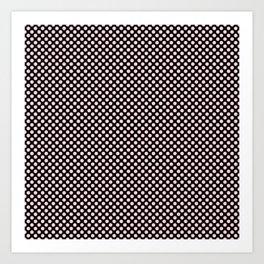 Black and Bridal Blush Polka Dots Art Print
