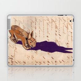 Vintage Wood Carved Rabbit in Gouache Laptop & iPad Skin