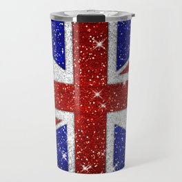 Glitters Shiny Sparkle Union Jack Flag Travel Mug