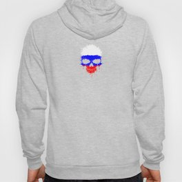 Flag of Russia on a Chaotic Splatter Skull Hoody
