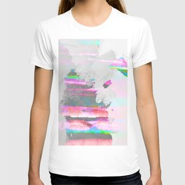 Abstract pastel painting in pink and green, watercolor design T-shirt