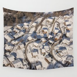 mountain village from the sky Wall Tapestry