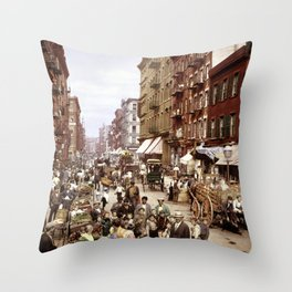 Mulberry Street NYC 1900 Throw Pillow