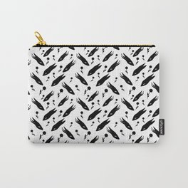 Seamless pattern with Black Rabbits and black flowers Carry-All Pouch