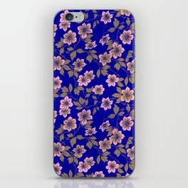 Abstract blush pink brown sky blue flowers iPhone Skin