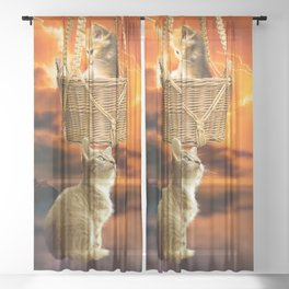 Cats and Thunderstorm Sheer Curtain