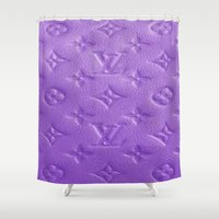 lv Shower Curtains featuring Purple LV  by Luxe Glam Decor