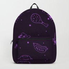 Fast Food Snacks Attack - Pizza Pie Hot Dogs Chicken Wings! on Purple Backpack