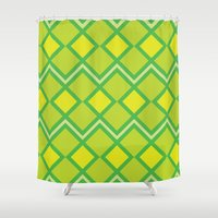 lime green Shower Curtains featuring Green Lime Square Pattern by FlowerPot