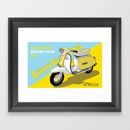YELLOW & BLUE LAMBRETTA SCOOTER Framed Art Print