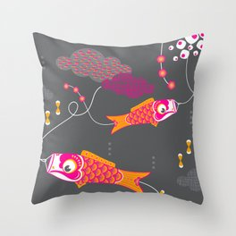 Koi No Bori in the Night Sky Throw Pillow