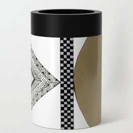 Geometric Shapes with Gold, Copper and Silver Can Cooler