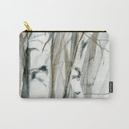 Winter Birch Trees Woodland Watercolor Original Art Print Carry-All Pouch