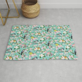 Blossom and Birds Turquoise Print Rug