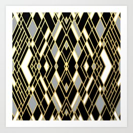 Art Deco Grey Gold Art Print