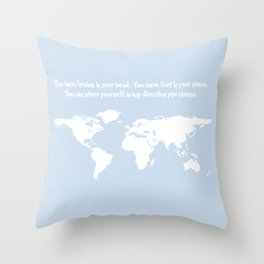 Dr. Seuss inspirational quote with earth outline Throw Pillow