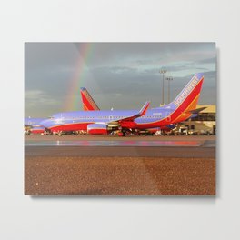 Southwest 737-700 with Rainbow Metal Print