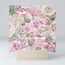 Country chic watercolor pastel green pink geometric floral Mini Art Print