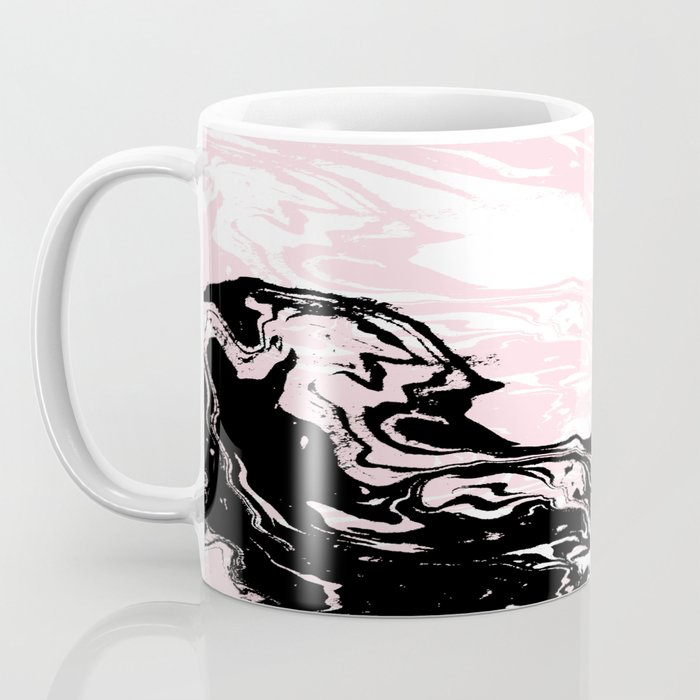 Gloriana - galaxy outer space abstract painting planets moon sun black and white pastel pink gold  Coffee Mug