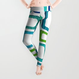 Midcentury Boxy Abstract - Blue Green Palette Leggings