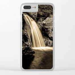 Sepia Waterfall, Stowe Vermont Clear iPhone Case