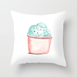 Mint Chocolate Ice Cream Throw Pillow