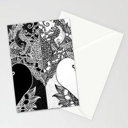 Unity of Halves - Life Tree - Rebirth - Black White Stationery Cards