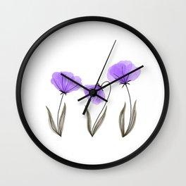 Spring Flower Trio Purple  Wall Clock