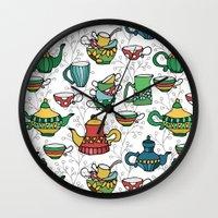 tea Wall Clocks featuring Tea by Julia Badeeva