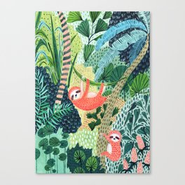 Jungle Sloth Family Canvas Print