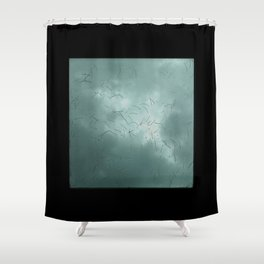 Laying on my back and looking through the skylight as a winter storm passes by. Shower Curtain