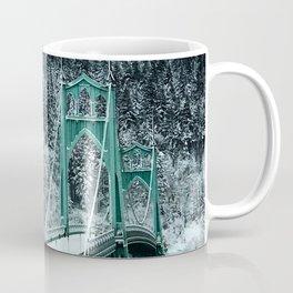 St Johns Bridge Winter Wonderland by Seasons Kaz Sparks Coffee Mug