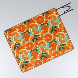 Orange Harvest - Blue Picnic Blanket
