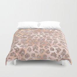Rosegold Blush Leopard Glitter   Duvet Cover