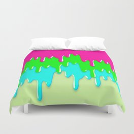 Funny Melting Icecream Neon Pink Green Teal Duvet Cover