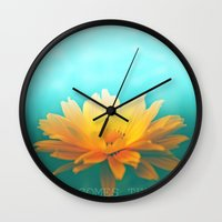 sunflower Wall Clocks featuring SUNFLOWER  by Monika Strigel