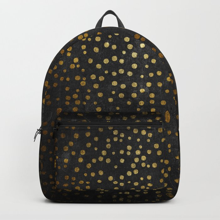 Gold polkadots dots on black backround-Elegant and Luxury Design Backpack