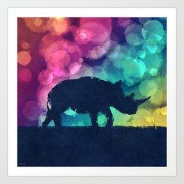 Pop Art Rhinoceros Art Print