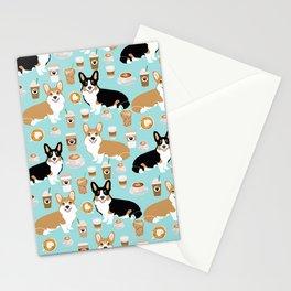 Corgi coffee welsh corgis dog breed pet lovers corgi crew Stationery Cards