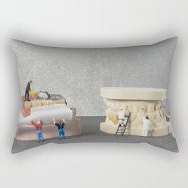 little people brushing teeth Rectangular Pillow