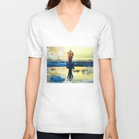 yoga V-neck T-shirts featuring yoga by Chantale Roger