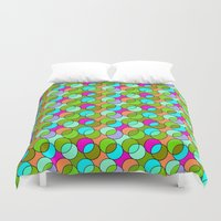 70s Duvet Covers featuring 70s retro circles,green by MehrFarbeimLeben