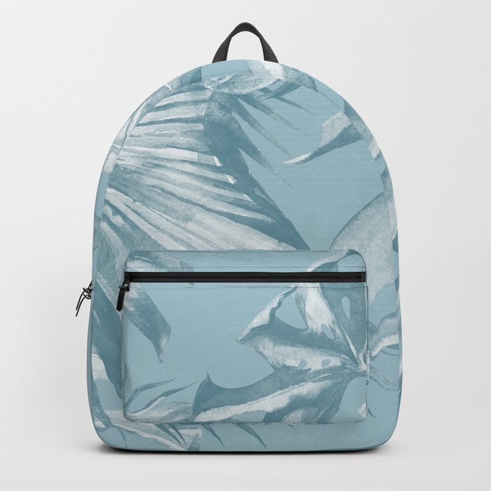 Island Dream Teal Palm Leaves Backpack