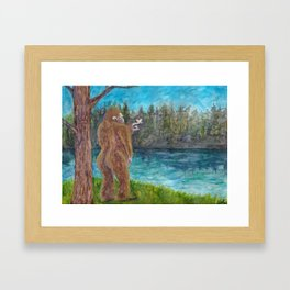Bigfoot at the Lake Framed Art Print