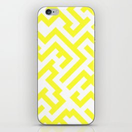 White and Electric Yellow Diagonal Labyrinth iPhone Skin
