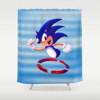 sonic Shower Curtains featuring Sonic by DROIDMONKEY