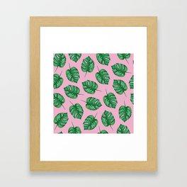 Pink Monstera Leaf Watercolor Pattern   Tropical Leaves Watercolor   Tropical Pattern Framed Art Print